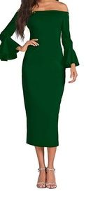 Womens bodycon dress green color formal party M